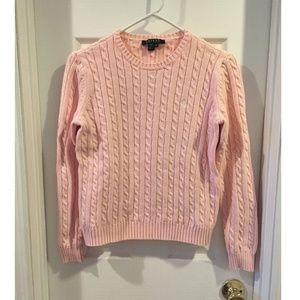 Light Pink Cable Knit Cotton Crew Neck Sweater S